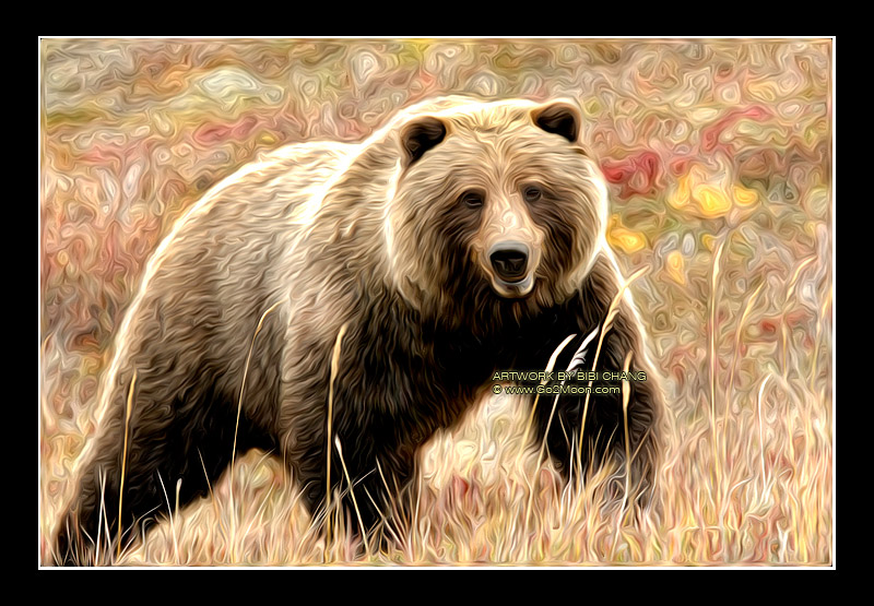 Mighty Grizzly Bear in Oil Painting: www.go2moon.com/image/OilPainting/OilPainting-Bear-A1.html